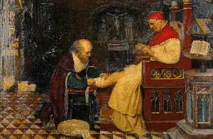 Ernest Board - Guy de Chauliac Bandaging the Leg of Pope Clement VI at Avignon, c.1348