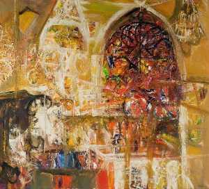 Robin Philipson - Church Interior with Chandeliers