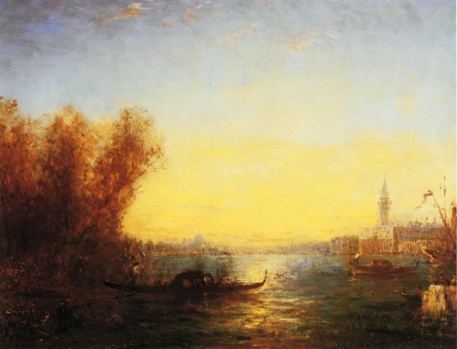 Gondolas on the Lagoon, Veniice by Felix Francois Georges Philbert Ziem | Museum Quality Reproductions | WahooArt.com