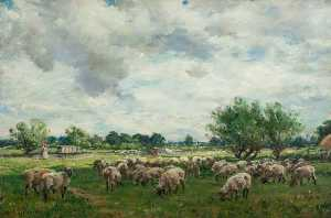 William Mark Fisher - Landscape with Sheep