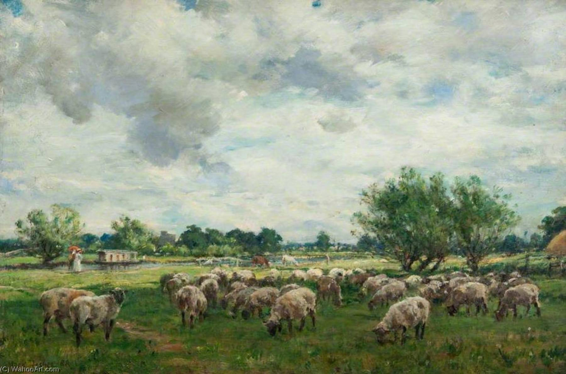 Landscape with Sheep, Oil On Canvas by William Mark Fisher (1968-2017, United States)