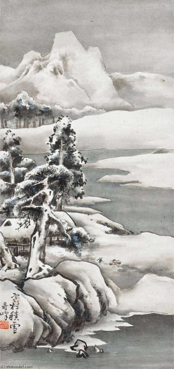 Order Museum Quality Reproductions : SNOW CLAD VILLAGE IN COUNTRYSIDE by Gao Qifeng | WahooArt.com