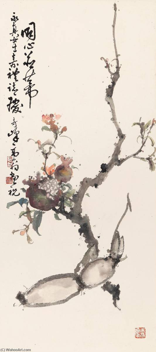 POMEGRANATE AND LOTUS ROOT by Gao Qifeng | WahooArt.com