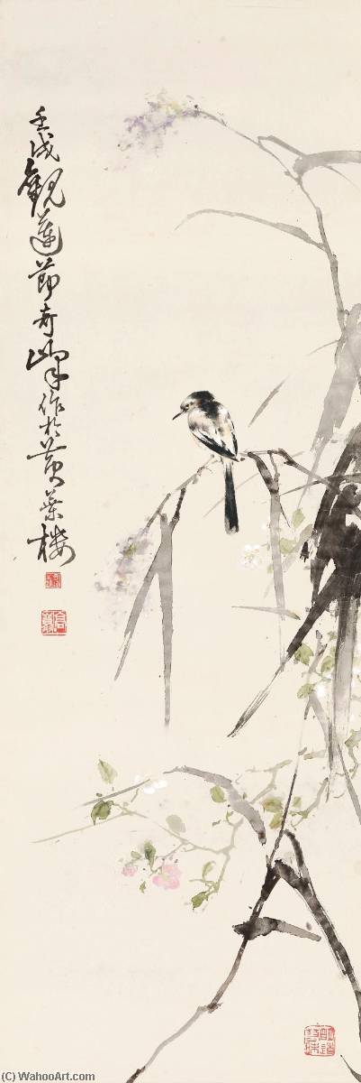 Perching by the Reeds, Ink by Gao Qifeng