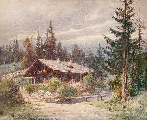 Forest House in the Alps, Watercolour by Georg Janny (order Fine Art Print on canvas Georg Janny)
