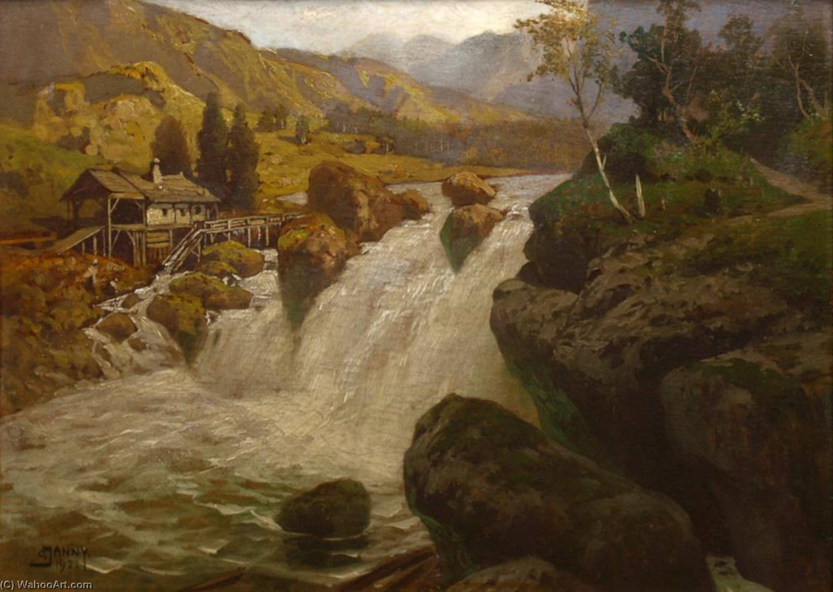 Mill at a River, Oil On Panel by Georg Janny