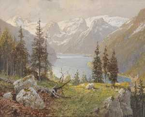 Georg Janny - Hallstädter Lake and Northern Slope of the Dachstein Plateau
