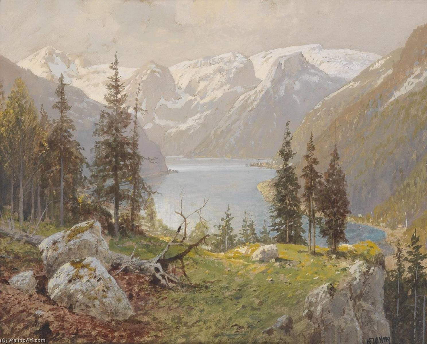 Hallstädter Lake and Northern Slope of the Dachstein Plateau, Watercolour by Georg Janny