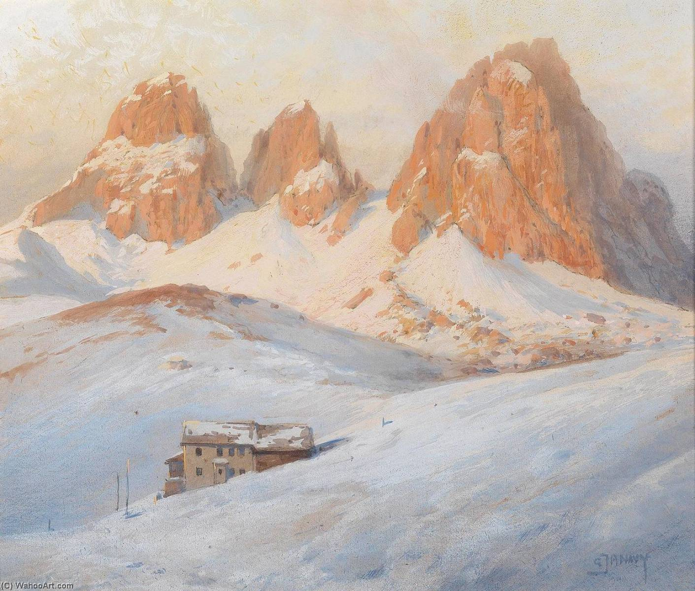 In the Dolomites, Watercolour by Georg Janny