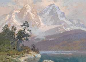 Georg Janny - Landscape with a Lake and Mountains