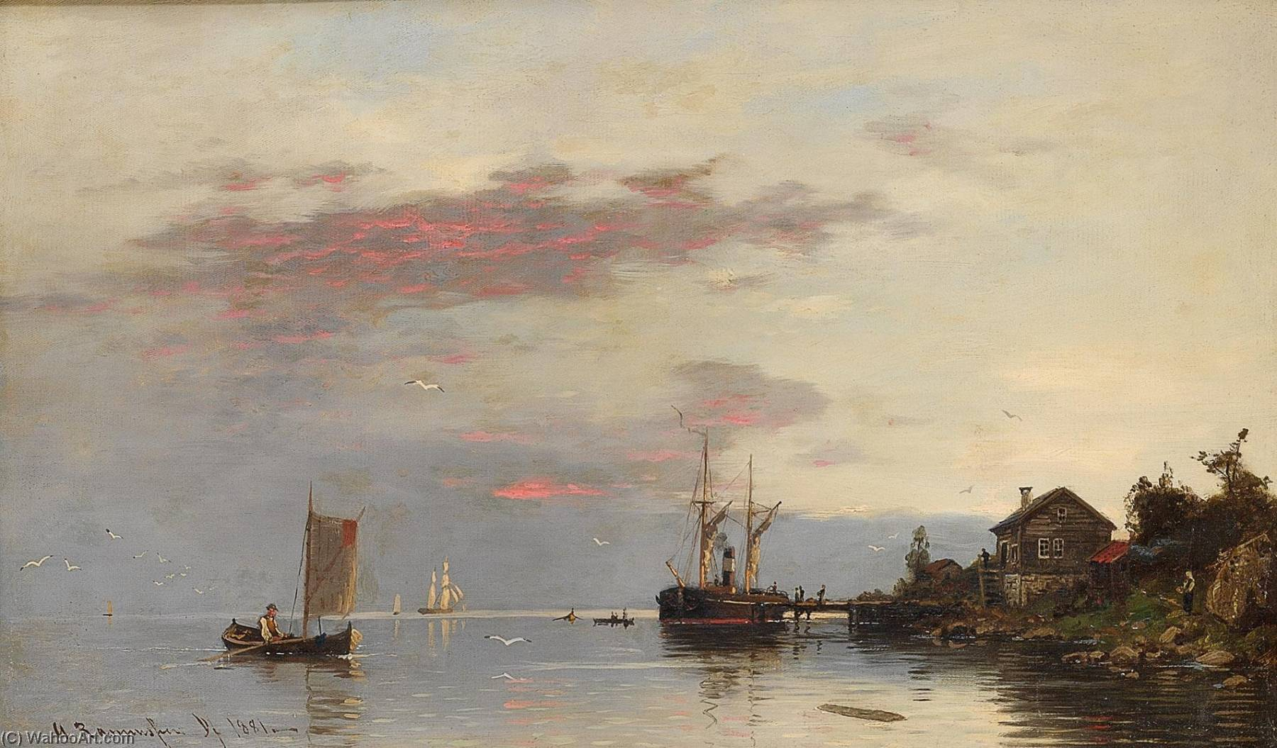 Buy Museum Art Reproductions | Fjord landscape with boats, 1881 by Georg Anton Rasmussen | WahooArt.com