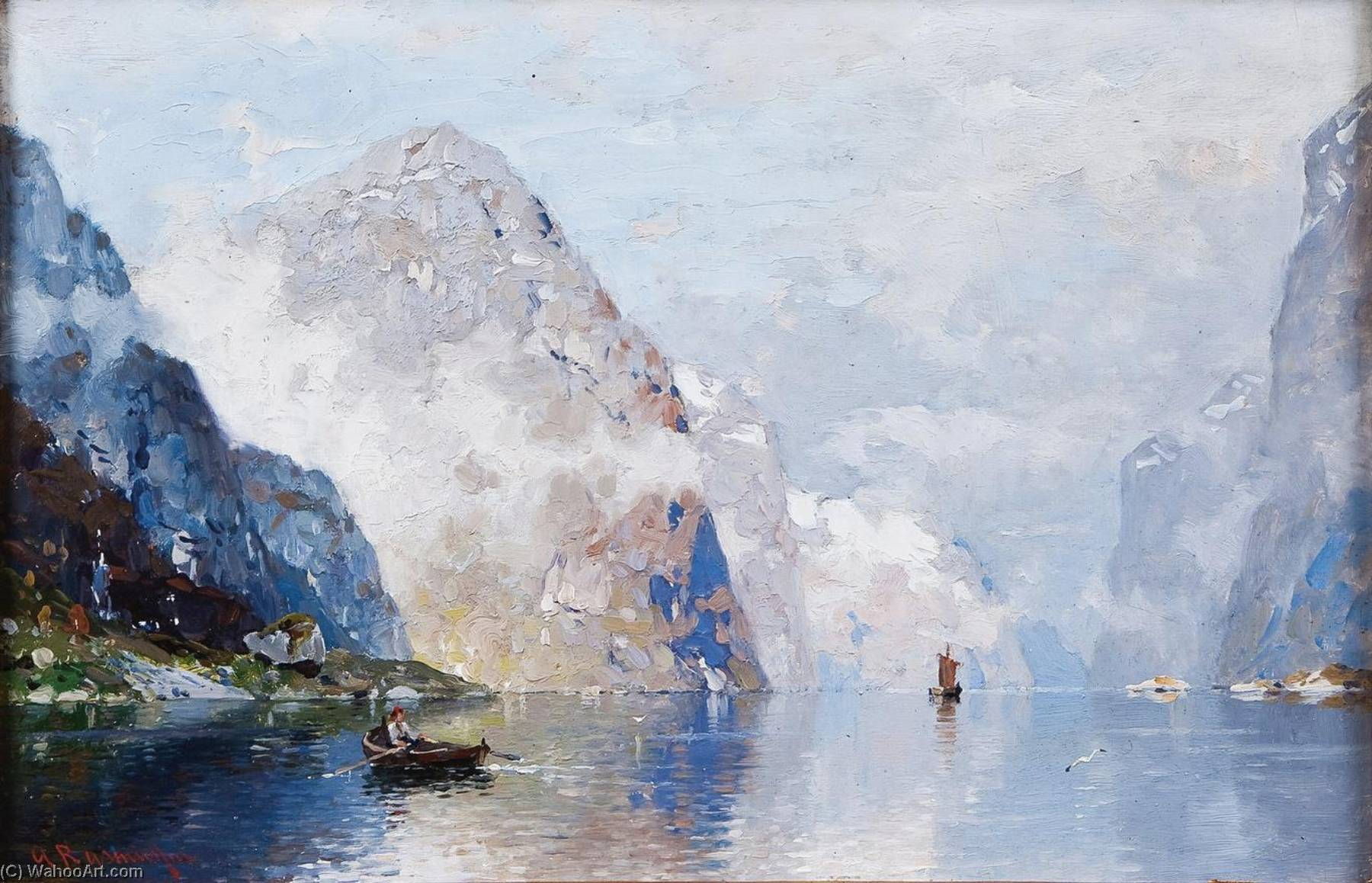 Fishermen on the Sognefjord by Georg Anton Rasmussen | Art Reproductions Georg Anton Rasmussen | WahooArt.com