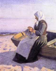 Michael Peter Ancher - Fisherman's Wife Knitting on Skagen Beach