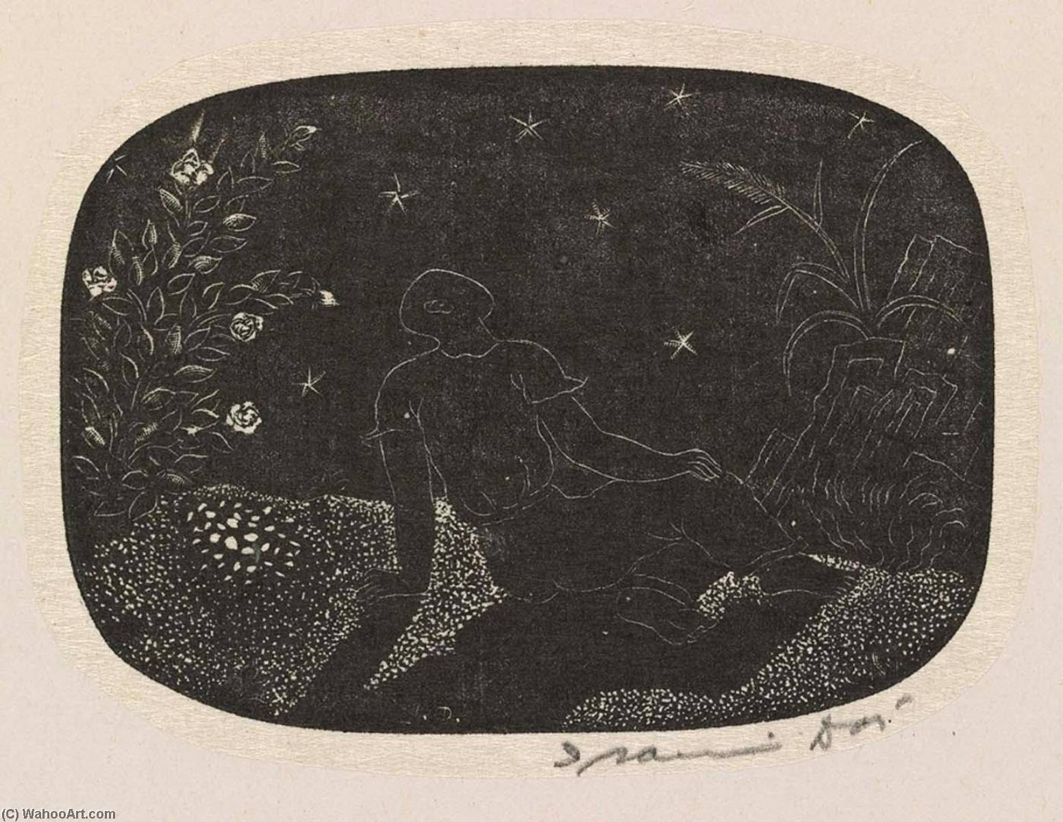 (The Wayward Muse, portfolio) Here Beneath the Canopy of Stars I Shall Sleep a Thousand Years of Dreamless Nights, 1952 by Isami Doi | Museum Quality Reproductions | WahooArt.com