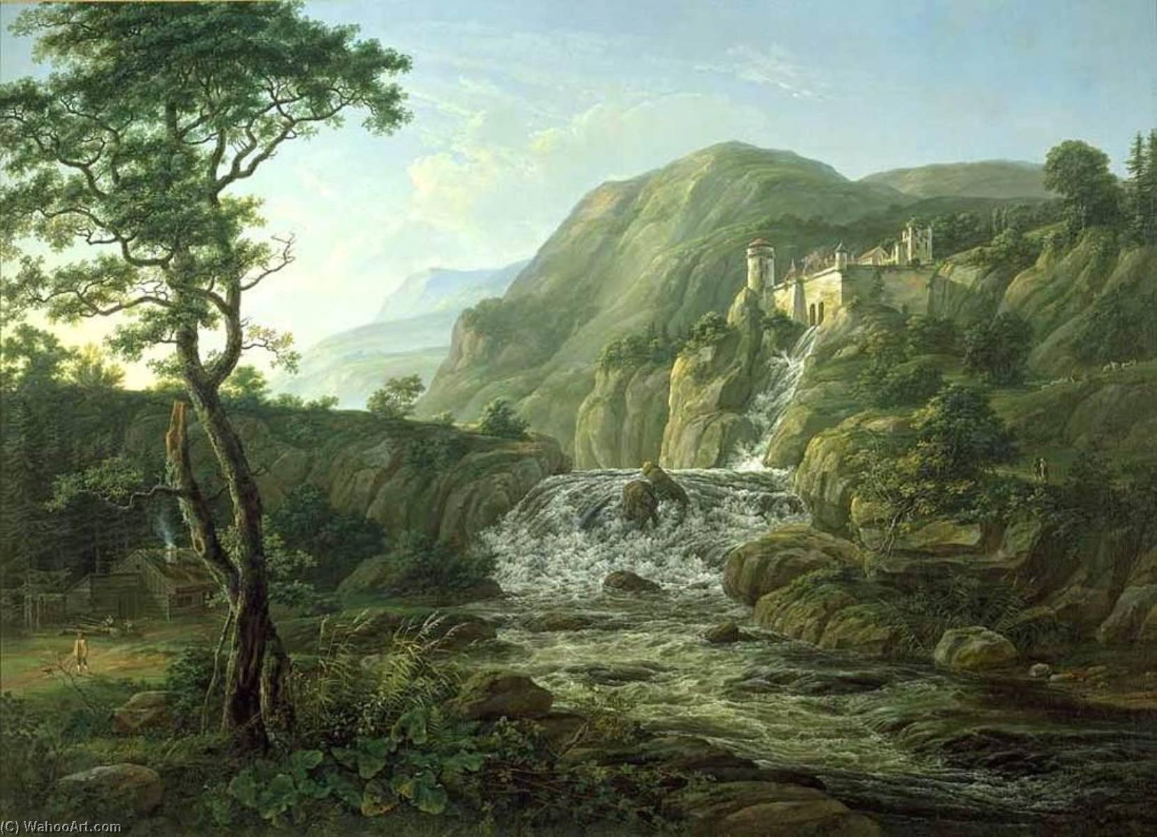 Mountain Landscape with a Castle, 1816 by Johan Christian Clausen Dahl (1788-1857, Denmark-Norway) | Painting Copy | WahooArt.com