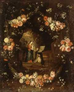 Jan Van Kessel The Elder - Madonna with the Child and St Ildephonsus Framed with a Garland of Flowers