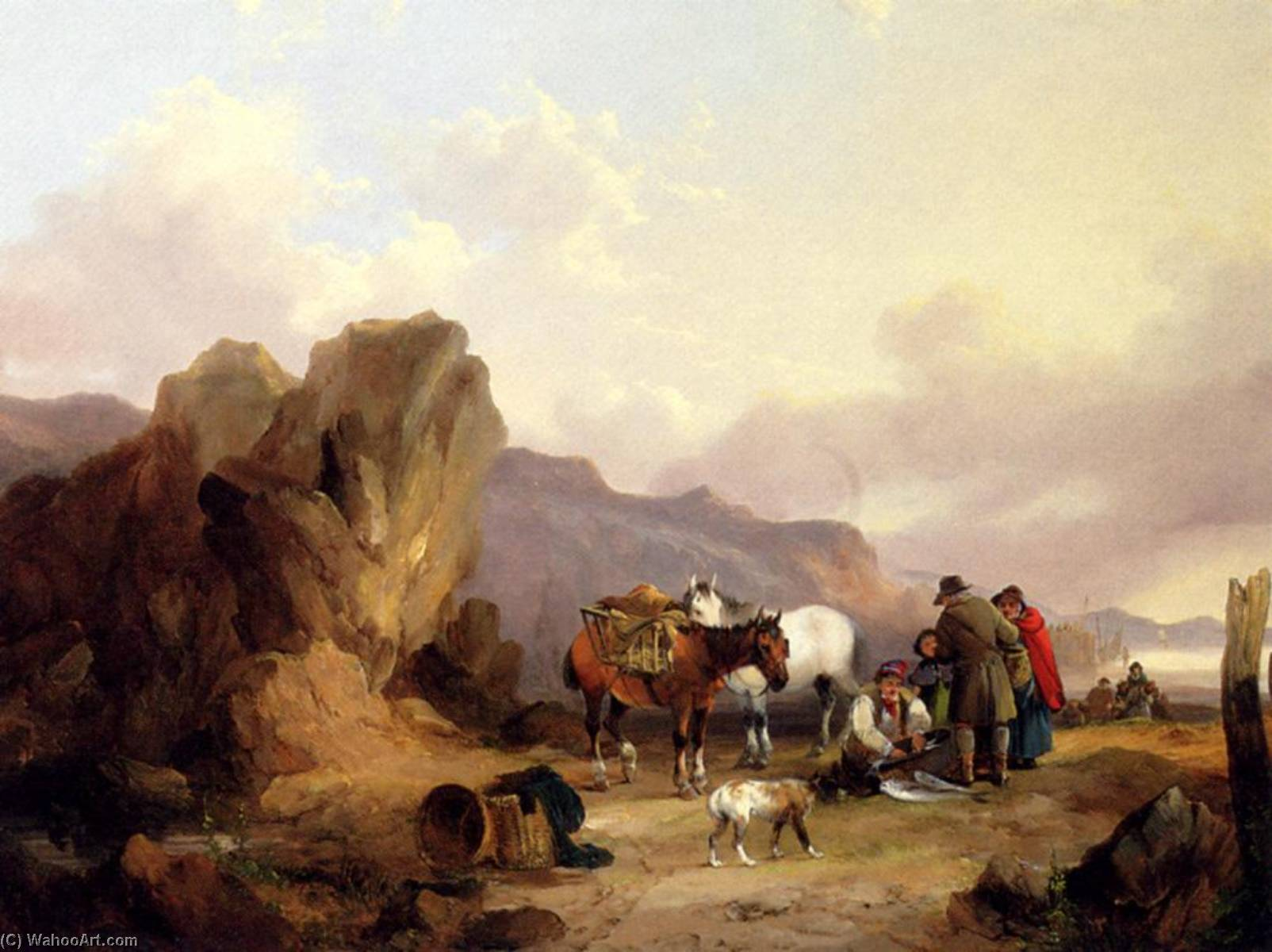 Fisherfolk Sorting The Catch, 1837 by William Shayer Senior (1788-1879, United Kingdom) | Painting Copy | WahooArt.com