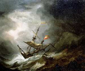 Willem Van De Velde The Younger - A Mediterranean Brigantine Drifting Onto a Rocky Coast in a Storm