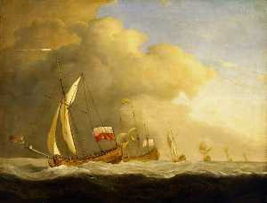Willem Van De Velde The Younger - English Royal Yachts at Sea, in a Strong Wind in Company with a Ship Flying the Royal Standard