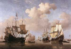 Willem Van De Velde The Younger - Calm Dutch Ships Coming to Anchor