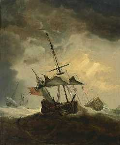 Willem Van De Velde The Younger - Small English Ship Dismasted in a Gale