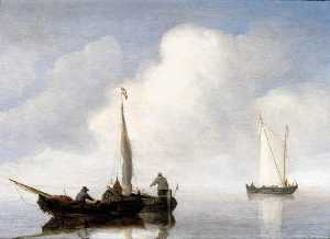 Willem Van De Velde The Younger - Small Craft in a Calm off the Dutch Coast