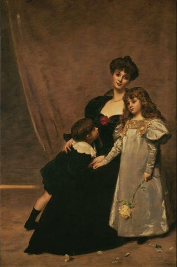 Order Reproductions | Madame Faydou and Her Children, 1897 by Carolus-Duran (Charles-Auguste-Emile Durand) | WahooArt.com