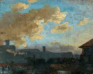 Benjamin West - Landscape with Clouds