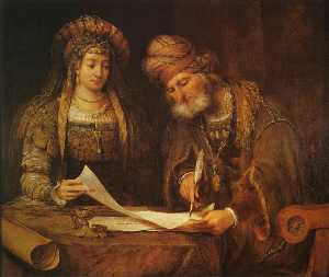Aert De Gelder - Mardochai Writing the First Purim Letter