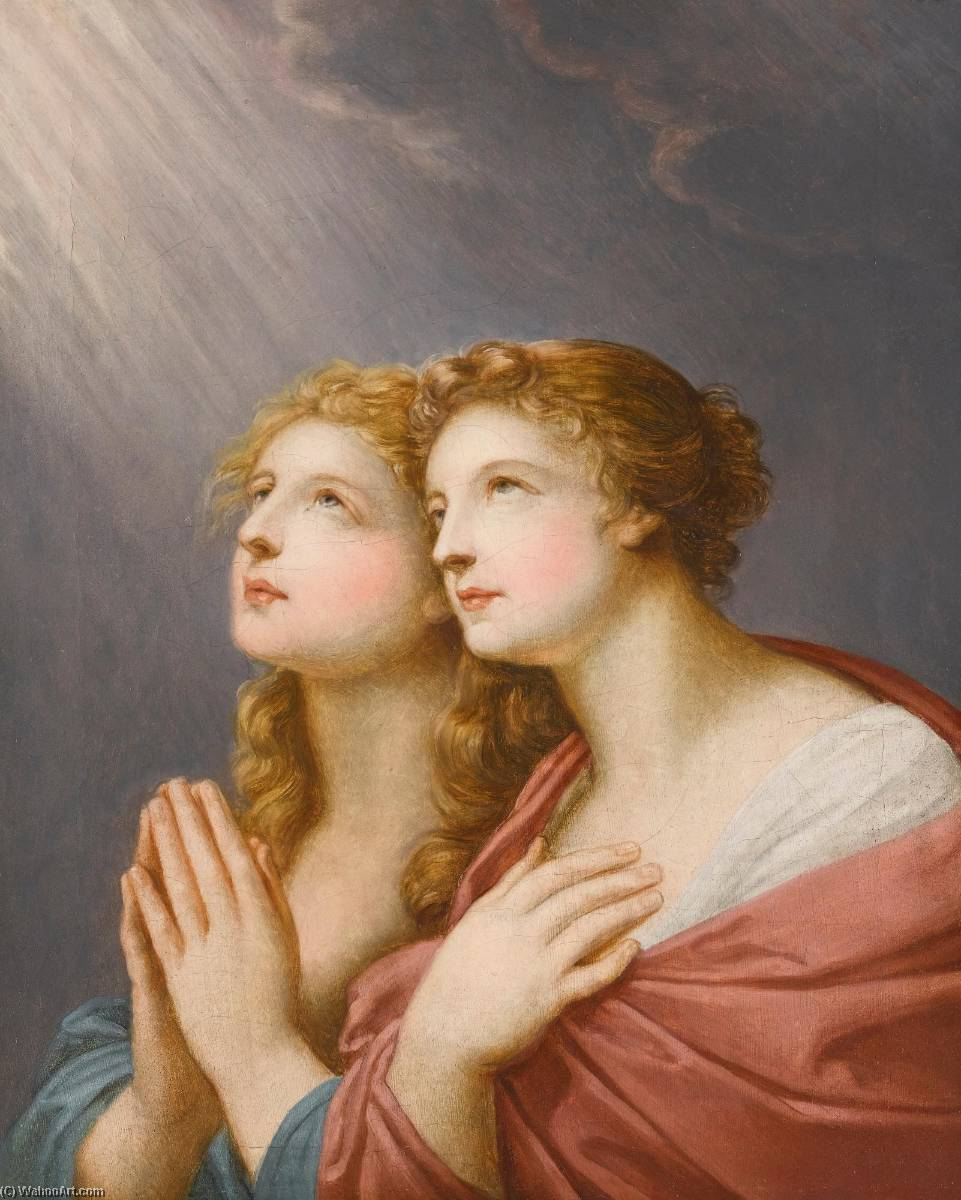 Study for two female figures praying, Oil On Canvas by Friedrich Heinrich Füger (1751-1818, Germany)