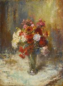 Edward Seago - Flowers in a Glass Vase