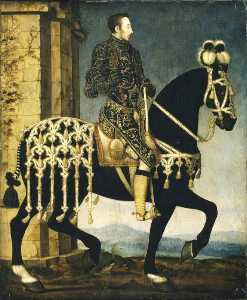 François Clouet - Henry II of France on Horseback