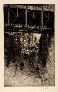 Charles Frederick William Mielatz - Street Scene under Steel Bridge