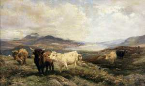 Henry William Banks Davis - Landscape with Cattle, Morning