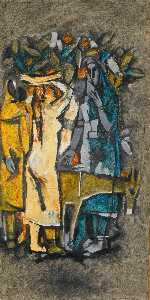 Maqbool Fida Husain - Untitled (Village Women)
