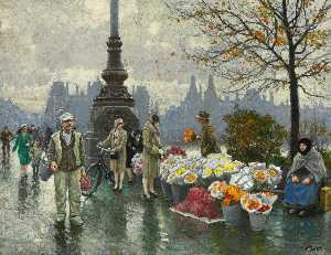 Paul Gustave Fischer - Flowersellers at Dr. Louises Bro (Queen Louise's Bridge) in Copenhagen