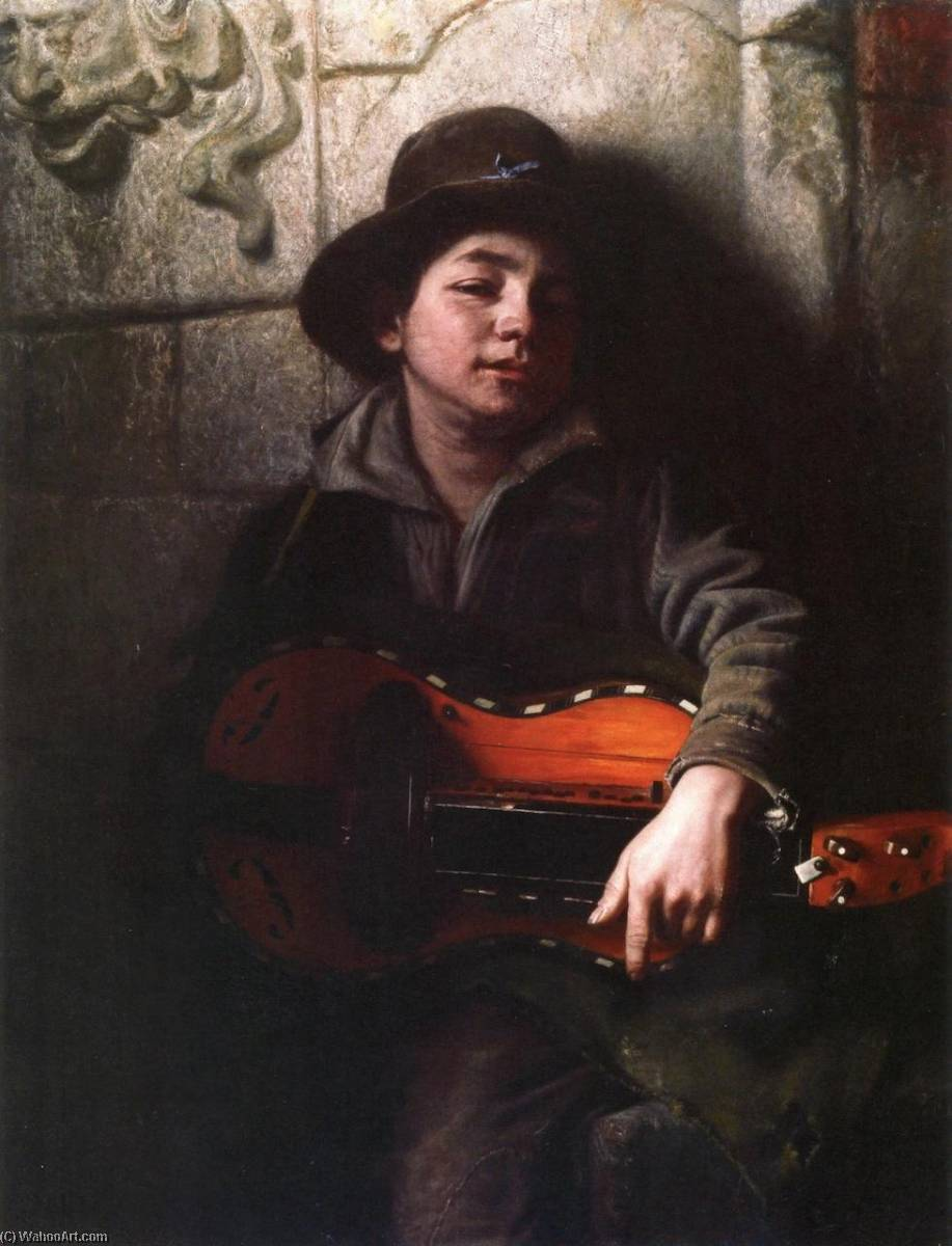 The Italian Boy with Hurdy Gurdy, Oil On Canvas by Richard Caton De Woodville (1856-1927, United States)