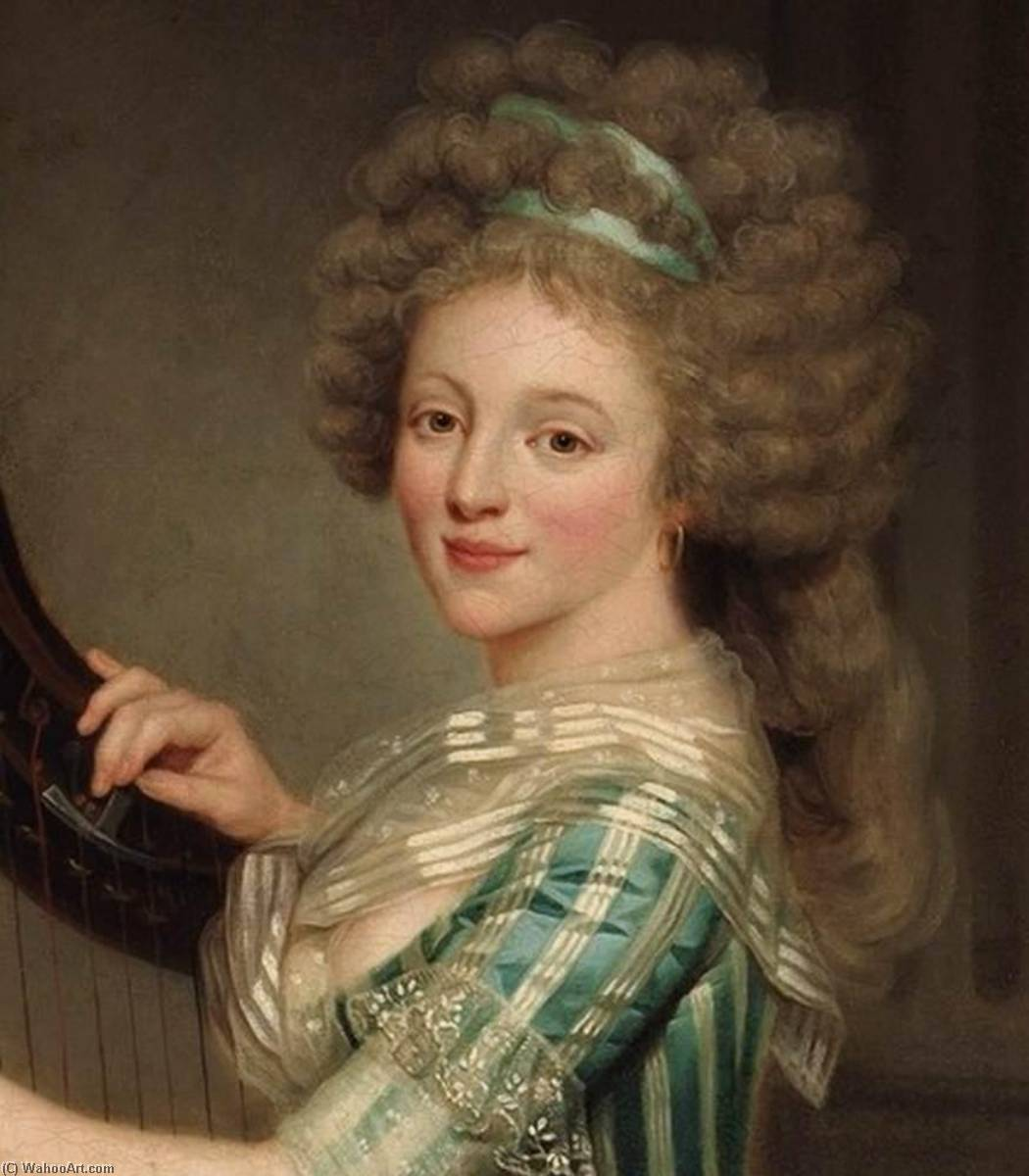 Self Portrait with a Harp (detail), Oil On Canvas by Rose Adélaïde Ducreux (1761-1802, France)