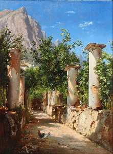 Carl Frederik Peder Aagaard - Ancient columns, Italy. In the background figures at the well. Pres. from Capri