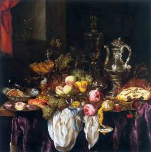 Abraham Hendriksz Van Beijeren - Still Life with Fruit, Sea Food, and Precious Tableware