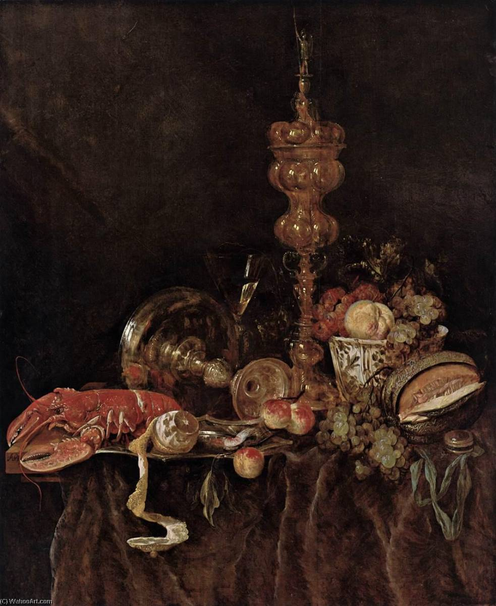 Order Museum Quality Reproductions : Still Life with Lobster and Fruit, 1651 by Abraham Hendriksz Van Beijeren (1620-1690, Netherlands) | WahooArt.com