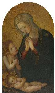 Pseudo Pier Francesco Fiorentino - Madonna and Child with the infant Saint John the Baptist