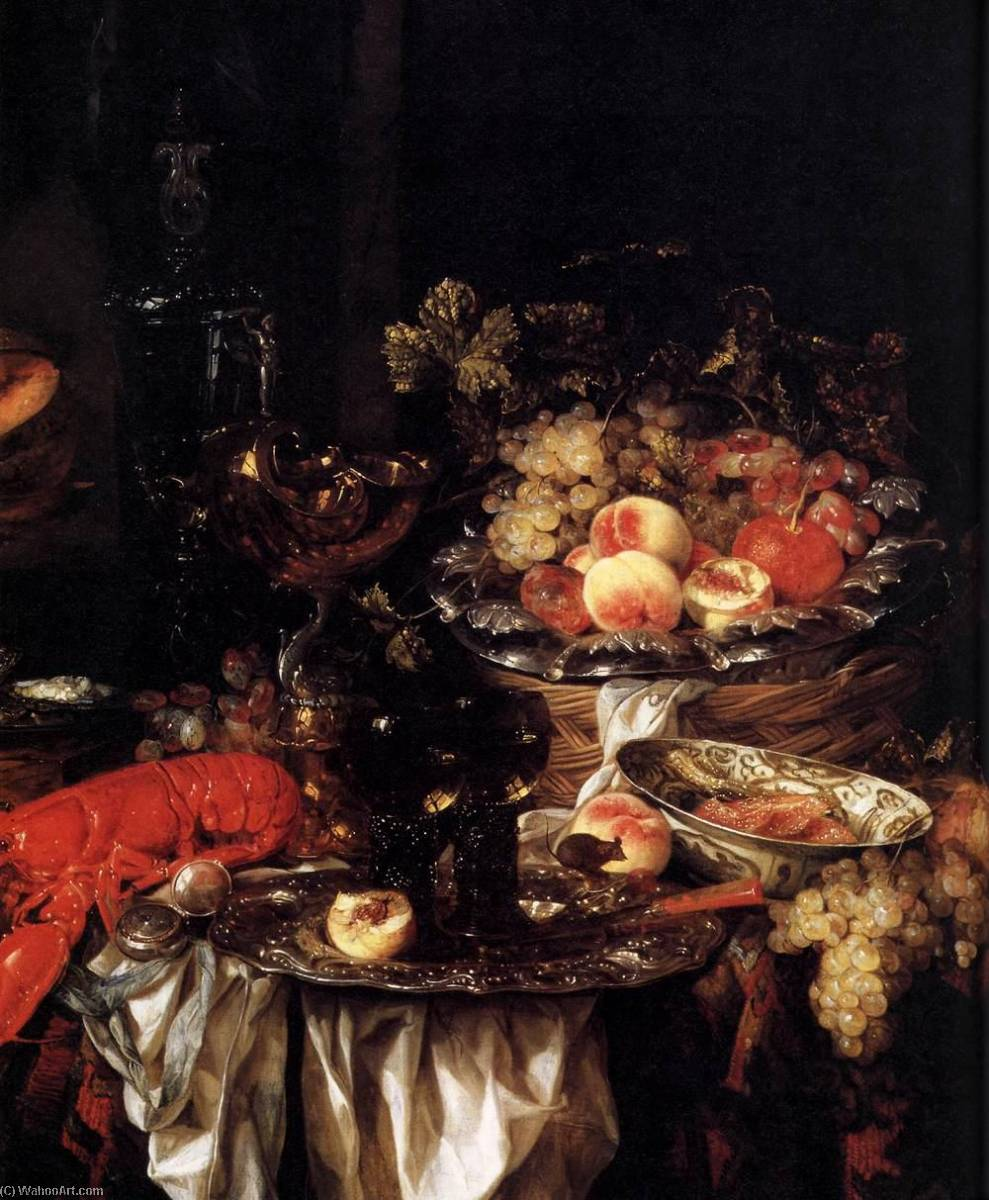 Banquet Still Life with a Mouse (detail), 1667 by Abraham Hendriksz Van Beijeren (1620-1690, Netherlands) | Painting Copy | WahooArt.com