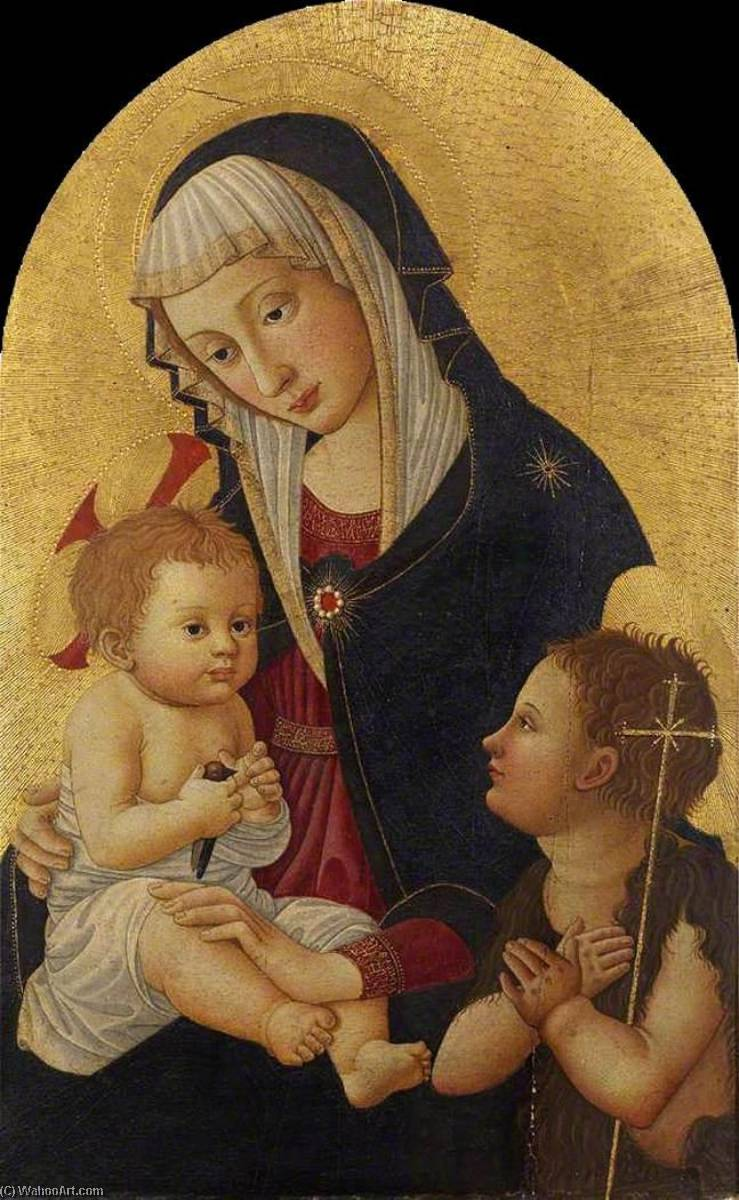 Virgin and Child with a Goldfinch and the Infant St John, 1460 by Pseudo Pier Francesco Fiorentino (1444-1497, Italy) | Reproductions Pseudo Pier Francesco Fiorentino | WahooArt.com