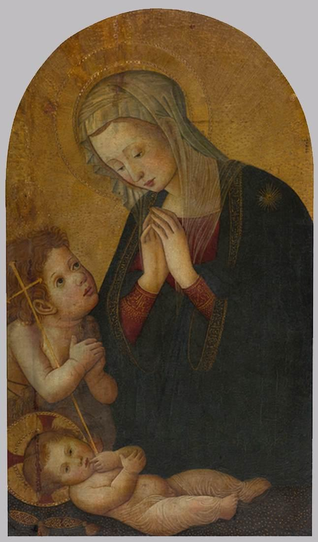 Order Art Reproductions | Madonna and Child with the Infant St John the Baptist by Pseudo Pier Francesco Fiorentino (1444-1497, Italy) | WahooArt.com