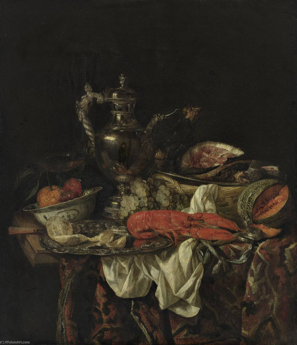 Still life with a silver pitcher by Abraham Hendriksz Van Beijeren (1620-1690, Netherlands) | Museum Quality Reproductions | WahooArt.com