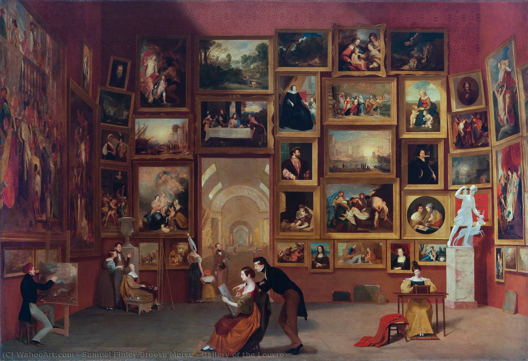 Gallery of the Louvre, 1833 by Samuel Finley Breese Morse (1791-1872, United States) | Art Reproduction | WahooArt.com