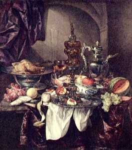 Abraham Hendriksz Van Beijeren - Still life with fruit, roast, silver and glassware, porcelain and columbine cup on a dark tablecloth with white serviette