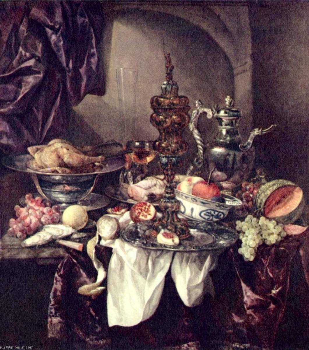 Still life with fruit, roast, silver and glassware, porcelain and columbine cup on a dark tablecloth with white serviette, 1670 by Abraham Hendriksz Van Beijeren (1620-1690, Netherlands) | Famous Paintings Reproductions | WahooArt.com
