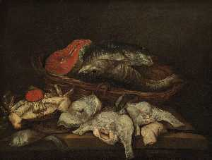 Abraham Hendriksz Van Beijeren - Still life with fish